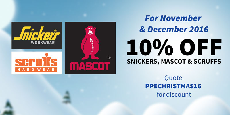 10% OFF Snickers, Mascot & Scruffs For November & December 2016
